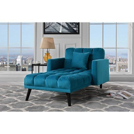 Modern Velvet Fabric Recliner Sleeper Chaise Lounge Within Most Current Dulce Mid Century Chaise Sofas Dark Blue (View 2 of 10)