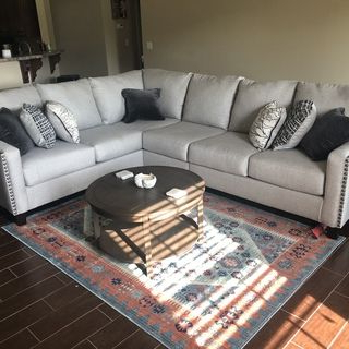 Most Current 2pc Polyfiber Sectional Sofas With Nailhead Trims Gray Throughout Hallenberg 3 Piece Sectional (View 9 of 10)