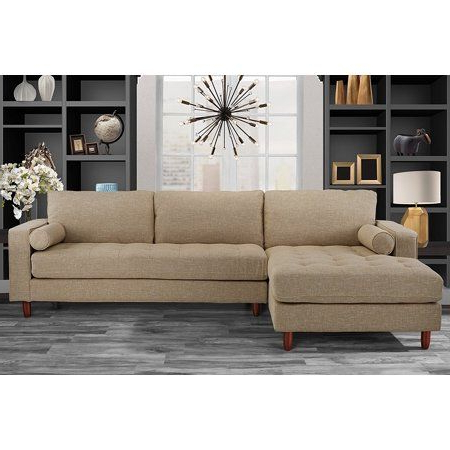Most Current Alani Mid Century Modern Sectional Sofas With Chaise Regarding Mid Century Modern Tufted Fabric Sectional Sofa, L Shape (View 2 of 10)