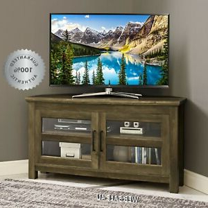Most Current Corner Tv Stand Rustic Wood Media Console Entertainment With Regard To Robinson Rustic Farmhouse Sliding Barn Door Corner Tv Stands (View 9 of 10)