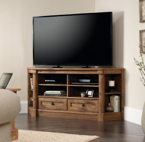 """Most Current Corner Tv Stands For Tvs Up To 60"""" With Regard To Corner Tv Stand Entertainment Center Credenza Shelves (View 3 of 10)"""