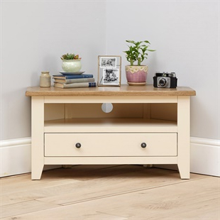 Most Current Cream Solid Wood Oak, Pine & Painted Tv Stands & Tv Units Throughout Sherbourne Oak Corner Tv Stands (View 7 of 10)