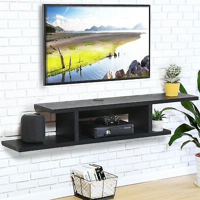 Most Current Fitueyes Wood Floating Shelves Wall Mount Tv Stand Media Pertaining To Chromium Extra Wide Tv Unit Stands (View 3 of 10)