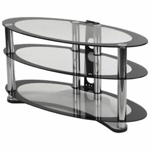 """Most Current Flash Furniture Nan Opal Gg Tv Stand,two Tone Glass Within Whalen Furniture Black Tv Stands For 65"""" Flat Panel Tvs With Tempered Glass Shelves (View 6 of 10)"""