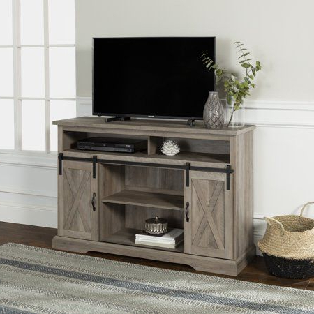 """Most Current Jaxpety 58"""" Farmhouse Sliding Barn Door Tv Stands In Rustic Gray For Manor Park Farmhouse Barn Door Accent Cabinet Reclaimed (View 8 of 10)"""