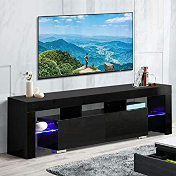 Most Current Ktaxon Modern High Gloss Tv Stands With Led Drawer And Shelves Intended For Amazon: Tv Stand Elegant Black High Gloss Led Light (View 2 of 10)