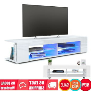 """Most Current Ktaxon Modern High Gloss Tv Stands With Led Drawer And Shelves Pertaining To 53"""" High Gloss White Led Light Shelves Tv Stand Unit (View 9 of 10)"""