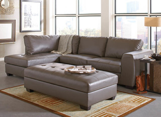 Most Current Ludovic Contemporary Sofas Light Gray Inside Joaquin Grey Leather Sectional – Modern – Sectional Sofas (View 10 of 10)