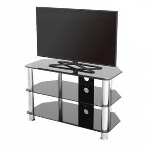 Most Current Meuble Tv Moderne En Verre Noir Unité Pour Jusqu'À 42 Within 57'' Led Tv Stands With Rgb Led Light And Glass Shelves (View 8 of 10)