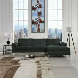 Most Current Polyfiber Linen Fabric Sectional Sofas Dark Gray For Large Sectional Sofa Left Facing Chaise Lounge Fabric (View 8 of 10)