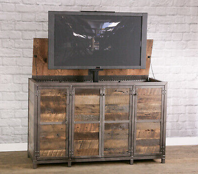 Most Current Rustic Country Tv Stands In Weathered Pine Finish In Reclaimed Wood Tv Lift Cabinet (View 1 of 10)