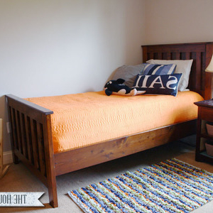 Most Current Rustic Twin Bed – Ryobi Nation Projects Regarding Twin Star Home Terryville Barn Door Tv Stands (View 9 of 10)