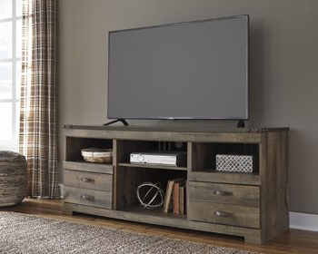 Most Current Signature Design Trinell, 4 Piece Entertainment Center Pertaining To Industrial Tv Stands With Metal Legs Rustic Brown (View 10 of 10)