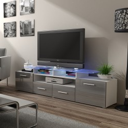 Most Current Tv Stands With 2 Open Shelves 2 Drawers High Gloss Tv Unis Throughout Bmf Evora White Tv Stand 194cm Wide Grey High Gloss Led (View 4 of 10)