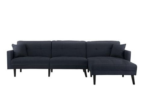 Most Popular Alani Mid Century Modern Sectional Sofas With Chaise With Romulo Mid Century Modern Linen Sleeper Sectional Sofa (View 4 of 10)