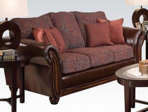 Most Popular Bonded Leather All In One Sectional Sofas With Ottoman And 2 Pillows Brown Inside Here The Rosy Colored One Is $605. (View 1 of 10)