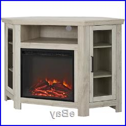 Most Popular Exhibit Corner Tv Stands Within Electric Corner Fireplace Tv Stand White Oak Media Wood (View 6 of 10)