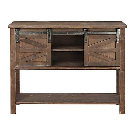 """Most Popular Farmhouse Sliding Barn Door Brown Console Table For Modern Farmhouse Style 58"""" Tv Stands With Sliding Barn Door (View 10 of 10)"""