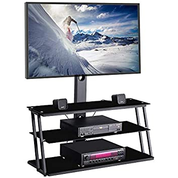 Most Popular Floor Tv Stands With Swivel Mount And Tempered Glass Shelves For Storage Pertaining To Amazon: Ianiya Swivel Floor Tv Stand With Mount Height (View 9 of 10)