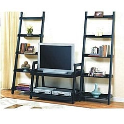 Most Popular Leaning Ladder Book Shelf Entertainment Center – Overstock With Regard To Modern Black Tv Stands On Wheels With Metal Cart (View 5 of 10)