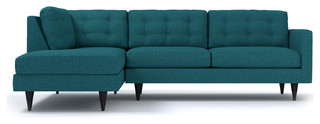 Most Popular Logan 2 Piece Sectional, Chicago Blue, Chaise On Left Throughout Dulce Mid Century Chaise Sofas Dark Blue (View 9 of 10)