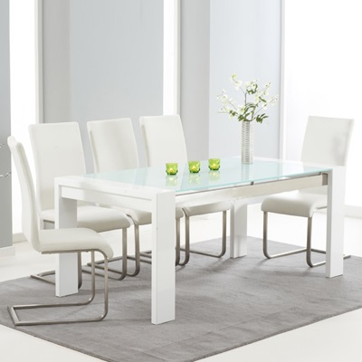 Most Popular Selina White Gloss And Glass Dining Table With 6 Milan Within Milan Glass Tv Stands (View 8 of 10)