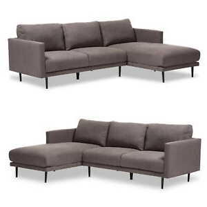 Most Recent Alani Mid Century Modern Sectional Sofas With Chaise Within Retro Grey Fabric Left Or Right Facing Chaise Sectional (View 9 of 10)