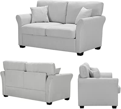 Most Recent Amazon: Walsunny Convertible Sectional Sofa Couch With Intended For Polyfiber Linen Fabric Sectional Sofas Dark Gray (View 4 of 10)