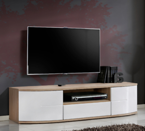 Most Recent Bmf Toronto Tv Stand 150cm Curved High Gloss Fronts Throughout 57'' Led Tv Stands With Rgb Led Light And Glass Shelves (View 4 of 10)