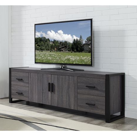 """Most Recent Carbon Wide Tv Stands Within We Furniture 70"""" Grey Wood Tv Stand Console (View 4 of 10)"""