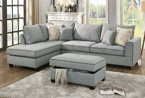 Most Recent Copenhagen Reclining Sectional Sofas With Right Storage Chaise Regarding 3pcs Light Grey Dorris Fabric Reversible Sectional Sofa (View 8 of 10)