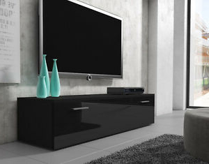 Most Recent Dillon Black Tv Unit Stands With Regard To Tv Unit Cabinet Stand Boston Body Black/ Front Black High (View 10 of 10)