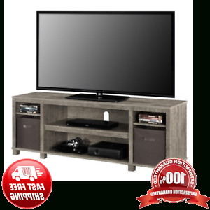 """Most Recent Gray Tv Stand Console W/ 2 Bins Storage Home Entertainment Inside Neilsen Tv Stands For Tvs Up To 65"""" (View 2 of 10)"""
