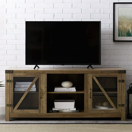 """Most Recent Grenier Tv Stands For Tvs Up To 65"""" Regarding Woven Paths Modern Farmhouse Barn Door Tv Stand For Tvs Up (View 3 of 10)"""