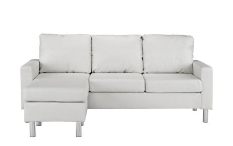 Most Recent Hadley Small Space Sectional Futon Sofas Pertaining To Metro Modern Reversible Small Pu Leather Sectional With (View 10 of 10)