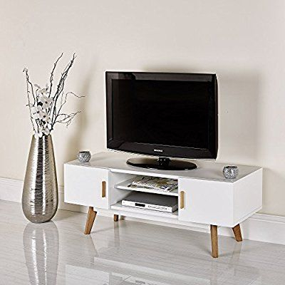 """Most Recent Manhattan Compact Tv Unit Stands Throughout Scandinavian White Retro Tv Stand For 32"""" To  (View 5 of 10)"""