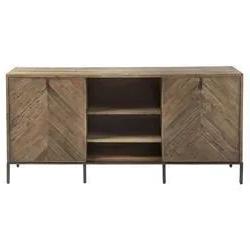 Most Recent Media Console Cabinet Tv Stands With Hidden Storage Herringbone Pattern Wood Metal Inside Ashley Rustic Lodge Brown Herringbone Pattern Wood Media (View 1 of 10)