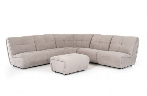 Most Recent Mireille Modern And Contemporary Fabric Upholstered Sectional Sofas Inside Divani Casa Grenada Modern Grey Fabric Sectional Sofa (View 4 of 10)