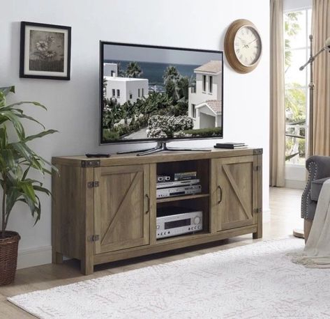 """Most Recent Modern Farmhouse Style 58"""" Tv Stands With Sliding Barn Door With 58 Inch Tv Stand Rustic Farm Barn Style Media Center (View 8 of 10)"""