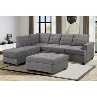 Most Recent Shop 3 Pc Modern Large Tufted Grey Microfiber Sectional With Regard To 3pc Polyfiber Sectional Sofas (View 1 of 10)