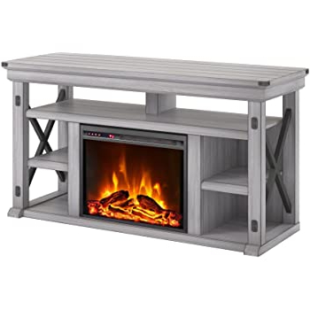 """Most Recently Released Ameriwood Home Rhea Tv Stands For Tvs Up To 70"""" In Black Oak Throughout Amazon: Allenhome Bennett Infrared Electric Fireplace (View 3 of 10)"""