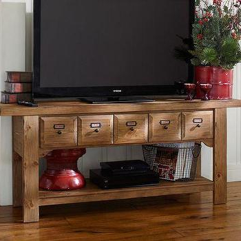 Most Recently Released Dawson Media Consoles – Pottery Barn Pertaining To Industrial Tv Stands With Metal Legs Rustic Brown (View 1 of 10)