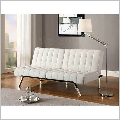 Most Recently Released Futon Sofa Bed Living Room Couch Sleeper White Modern Faux With Easton Small Space Sectional Futon Sofas (View 9 of 10)