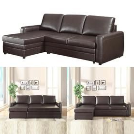 Most Recently Released Hartford Storage Sectional Futon Sofas With Regard To Coaster Functional Brown Faux Leather Upholstered (View 9 of 10)