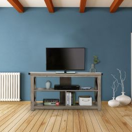 Most Recently Released Rfiver Modern Black Floor Tv Stands With Regard To 47 Inch Minimalist Open Media Shelving Tv Stand (View 2 of 10)