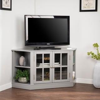 Most Recently Released Shop Hurley Walnut Corner Tv Stand – Overstock – 3534046 Pertaining To Grooved Door Corner Tv Stands (View 9 of 10)