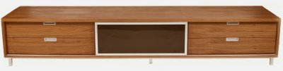 Most Recently Released Tv Stands With 2 Open Shelves 2 Drawers High Gloss Tv Unis Intended For Walnut Gloss Laquer Finish Modern Long Tv Stand (View 6 of 10)