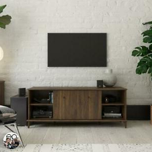 """Most Recently Released Walnut Finish Mid Century Tv Stand 55"""" W/ Open Shelves For Basie 2 Door Corner Tv Stands For Tvs Up To 55"""" (View 3 of 10)"""