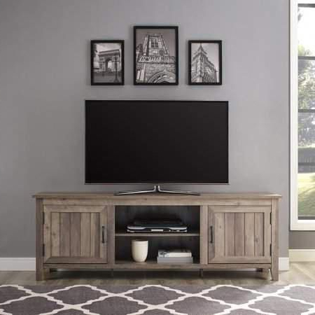Most Recently Released Woven Paths Farmhouse Grooved Door Tv Stand For Tvs Up To Intended For Woven Paths Farmhouse Barn Door Tv Stands In Multiple Finishes (View 3 of 10)