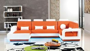 Most Up To Date 4pc Beckett Contemporary Sectional Sofas And Ottoman Sets Throughout 4pc Modern Orange White Bonded Leather Sofa Chaise Chair (View 9 of 10)
